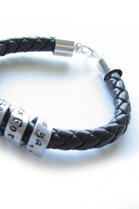 Braided Spiral Leather Bracelet Unisex Men Custom Hand stamped Black Brown Leather engraved Jewelry