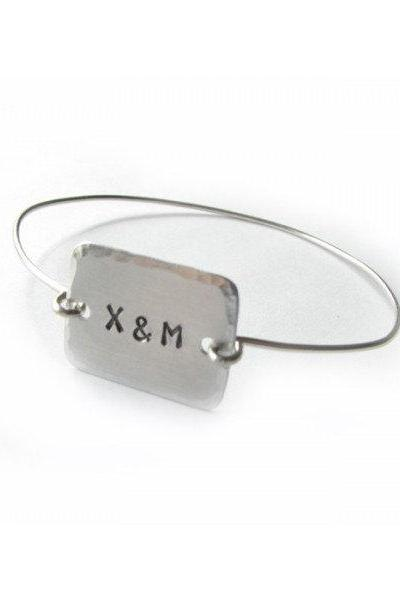 Square Bangle Bracelet Hand Stamped Personalized initials engrave bracelet gift birthday sister mother friend aluminum