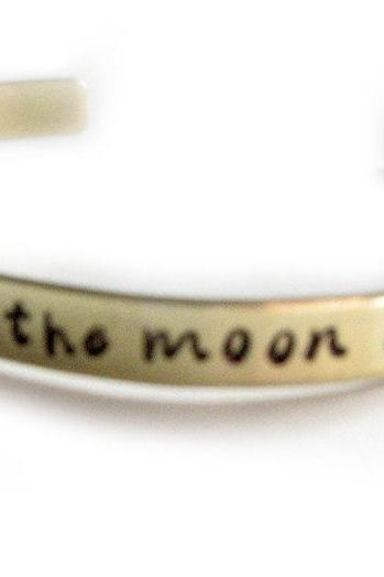 I Love You Cuff Bracelet Custom Personalized brass or aluminum hand stamped I Love you to the moon & back Jewelry birthday wedding