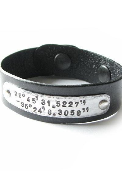 Latitude Longitude Hand stamped Leather Bracelet Riveted Hammered Engraved Jewelry Birthday