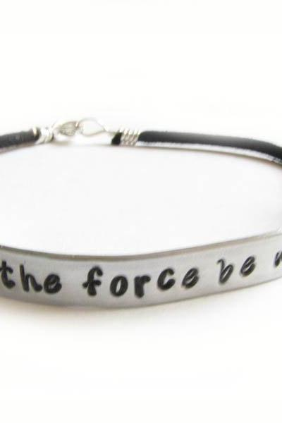 Star Wars Bracelet May the force be with you Hand Stamped Bracelet Wire Wrapped Black Leather Suede Jewelry