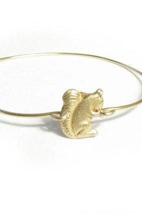 Squirrel Bangle Bracelet gold brass Wire Wrapped Bracelet Gift Jewelry birthday wedding
