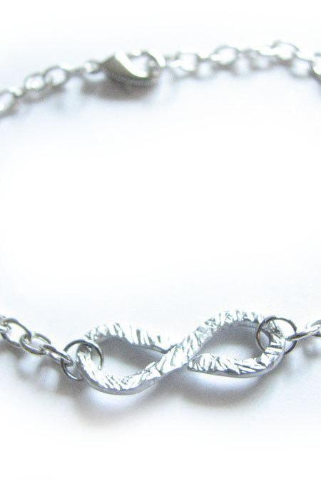 Infinity Anklet or Wrist Bracelet Wire Wrapped Knot Silver Plated Chain Hammered Jewelry wear two side