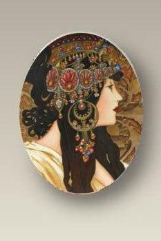 Brunette Art Nouveau ALPHONSE MUCHA Brunette Porcelain Cabochon findings supply