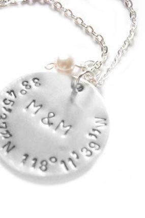 Latitude Longitude Necklace Hand Stamped Personalized Initial Pendant gift swarovski pearl charm