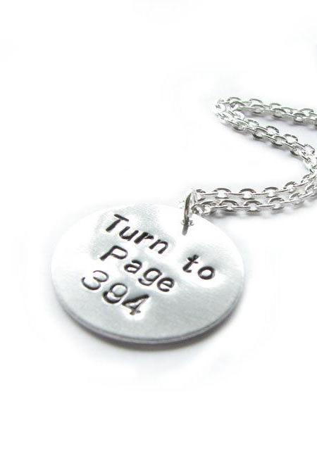Harry Potter Necklace Turn to Page 394 Hand Stamped pendant chain birthday