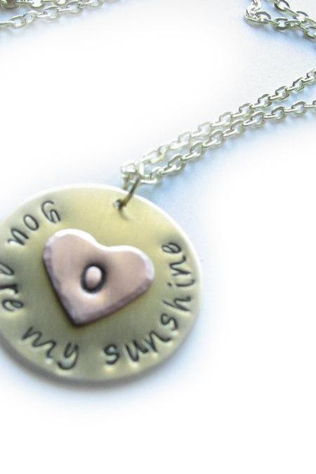 Sunshine Heart Necklace You are my sunshine Hand Stamped Initial engraved Pendant gift wedding Birthday