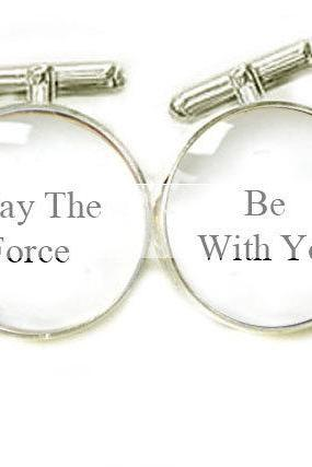 Star War Men Cufflinks May the force be with you personalized keepsake gift for men Wedding birthday father cuff links