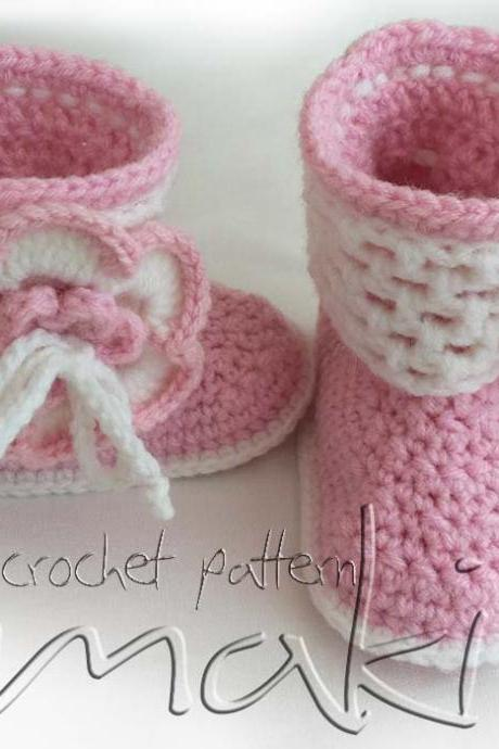 Crochet pattern baby boots - Permission to sell finished items - No sewing - PDF! Full of large pictures! Pattern No. 105
