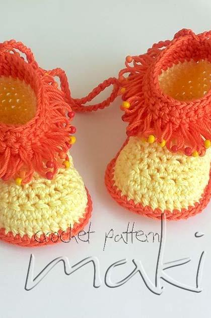 Crochet pattern loop stitch with beads - Crochet baby booties. Full of large pictures! Permission to sell finished items. Pattern No. 114