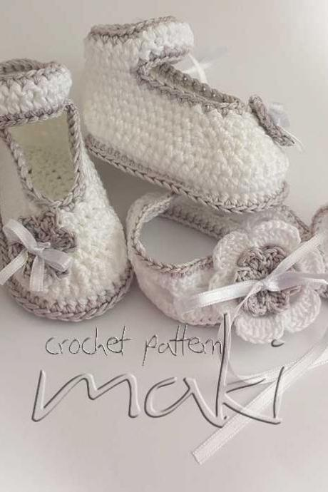 Great deal! Crochet patterns set booties with matching headband. Full of large pictures! Permission to sell finished items.
