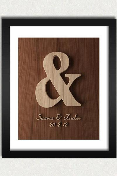 Personalized Ampersand Wedding / Engagement Wood Engraved Sign Printable - Digital Download - Size 8x10 - Perfect Gift Idea