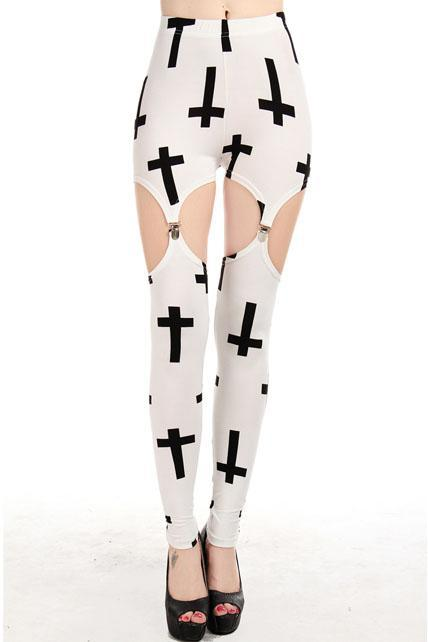 Fashion New Split Type Cross Pattern Fashion Girls Leggings - White