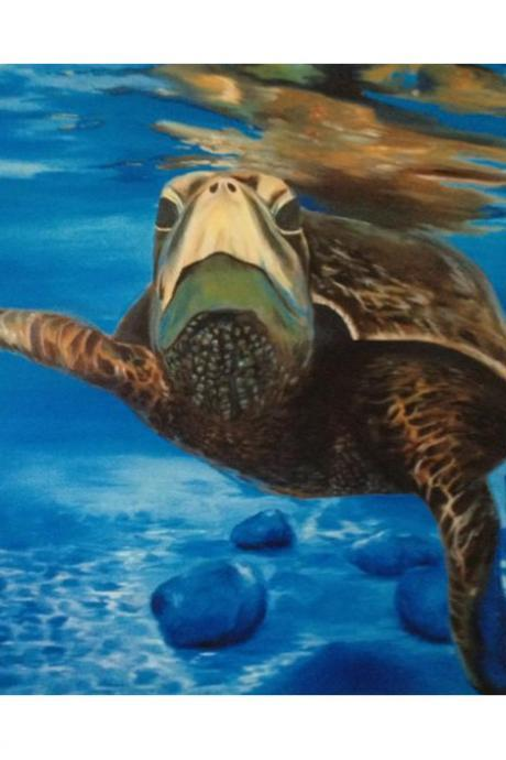 Sea Turtle Spectacle 12' x 18' Print of Original Oil Painting
