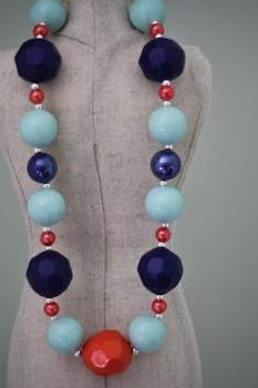 Chunky Aqua & Navy Bubblegum Bead Toddler Necklace