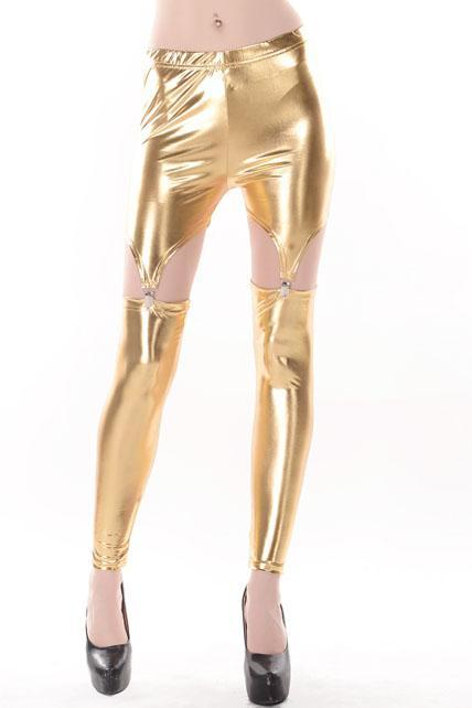 Women Split Type Ankle Length Leggings - Gold