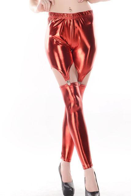 Women Split Type Ankle Length Leggings - Red