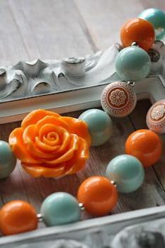 Light Aqua & Orange Bubblegum Bead Toddler Necklace
