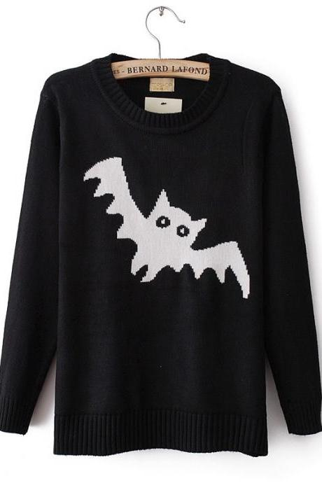 Round neck long-sleeved sweater bat pattern JCGC