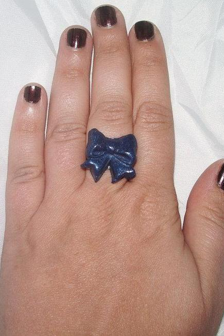 Blue Bow Polymer Clay Adjustable Ring