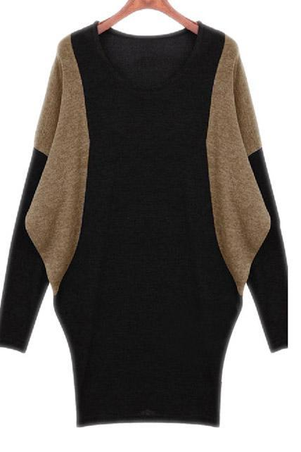Trendy Batwing Sleeve Color Block Cotton Autumn Dress