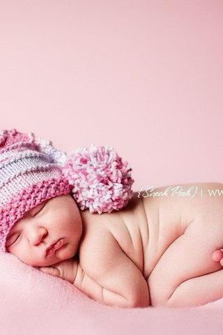 Sale -- Baby Elf Hat - Hand Knit Candy Shoppe Pink (with a twist) Elf Hat - Photography Prop