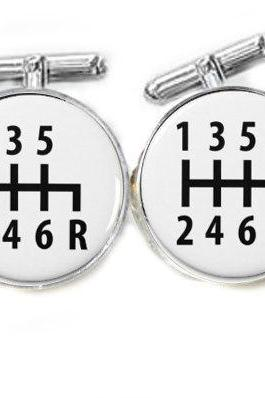 Car Gear Shift Cufflinks keepsake gift for him men boyfriend husband groom groomsmen cuff links Holiday, birthday, anniversary or wedding