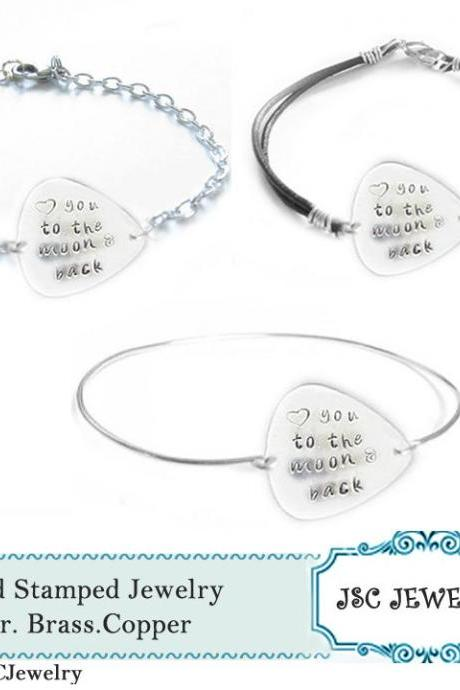 Guitar Pick Bracelet Love you to the moon & back Hand Stamped Engraved Wire Wrapped silver plated chain leather Bangle Music Musicians