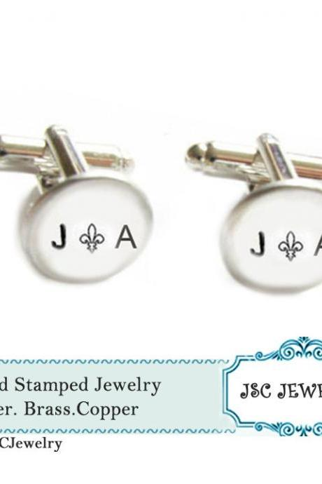 Fleur di lis initial cufflinks Hand Stamped French Cuff links personalized keepsake men's accessories gift for father men