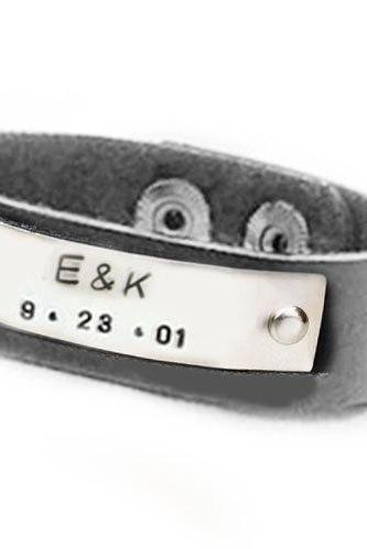 Customize Leather Bracelet Riveted Hand stamped Cuff Black Leather engraved Jewelry Birthday