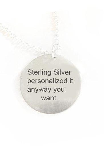 Silver Customize Hand Stamped necklace whatever you like pendant Sterling chain birthday wedding