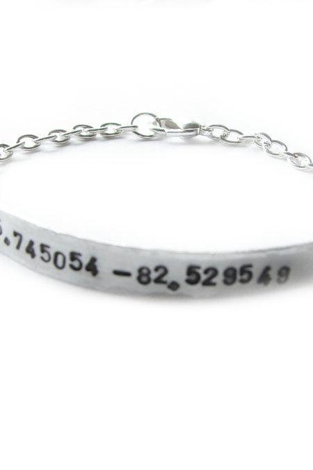 Latitude Longitude Hand Stamped Bracelet Hammered Silver Plated Chain linked Engraved Jewelry wedding birthday sister friend gift