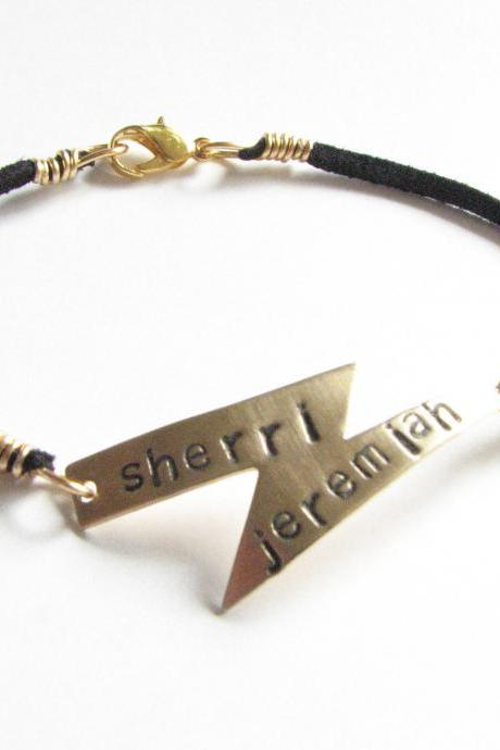 Lightning Bolt Bracelet Hand Stamped Black Suede Leather engraved Personalized Jewelry