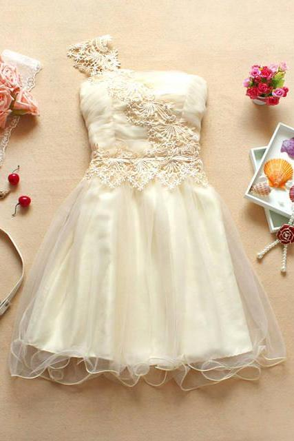 Fashion New Cute One Shoulder Strapless Dress - Apricot
