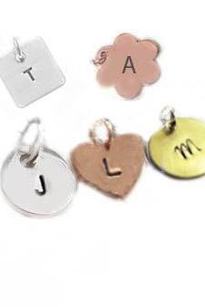 Charm Initial Hand Stamped pendant Engraved jewelry gift for birthday wedding