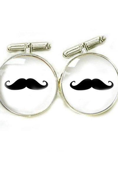 Mustache Men Cufflinks keepsake gift for him guys men father custom Wedding cuff links birthday