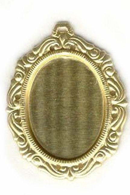 40x30mm or 25x18mm Brass Pendant Oval Picture Frame Setting for Cabochon Cameo Jewelry Findings setting