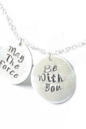 Star Wars Hand Stamped Necklace May the force be with you custom engraved pendant birthday wedding