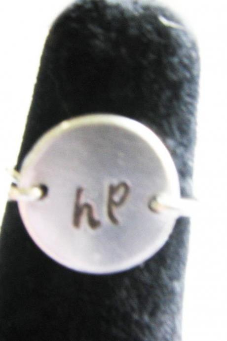 Initial Wire Wrapped Ring Metal Hand Stamped Personalized Ring Jewelry birthday gift engraved Harry Potter