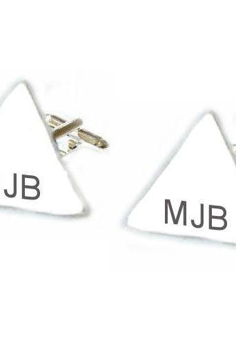 Triangle Initial Hand Stamped Men Cufflinks Personalized engraved gift guy cuff links birthday wedding