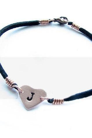 Copper Heart Bracelet Custom Hand Stamped Initial Black Leather Suede Jewelry gift engraved Wedding Birthday
