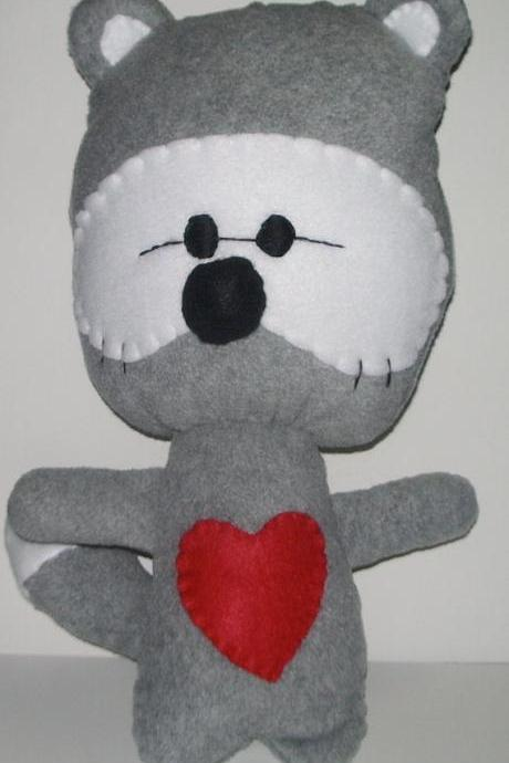 Large Gray Kawaii Raccoon Plushie