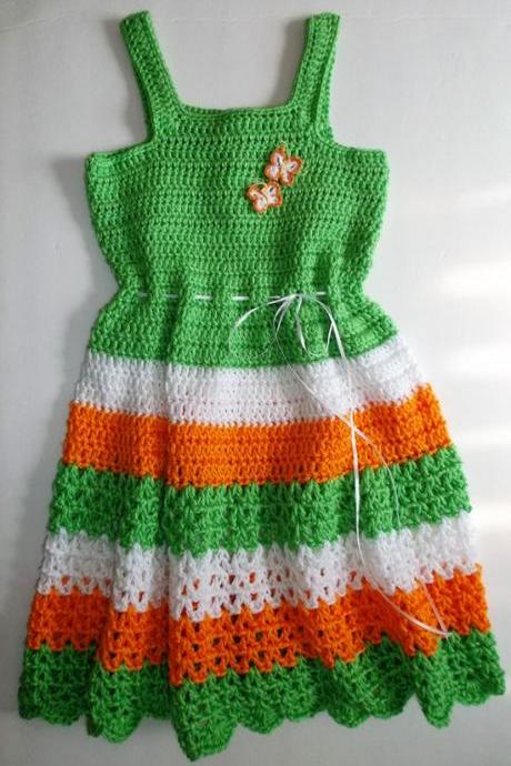 Green Multi Crocheted Girls Dress