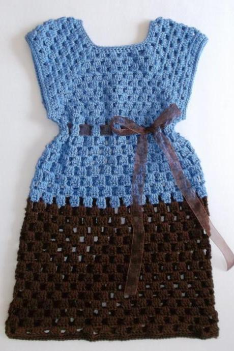 Blue and Brown Crochet Girls Dress