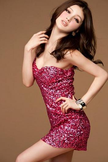 Seductive Strapless Rose Sequin Decoration Club Dress for Lady