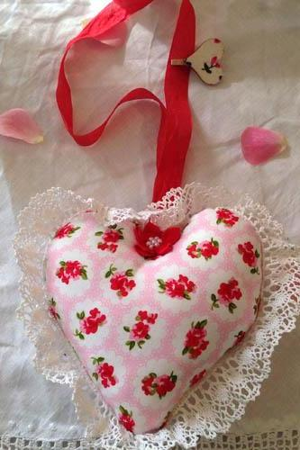 Heart Shape Cushion decoration - in red rose shabby chic theme