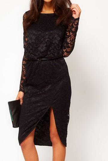 Knee Length Black Lace Round Neck Long Dress