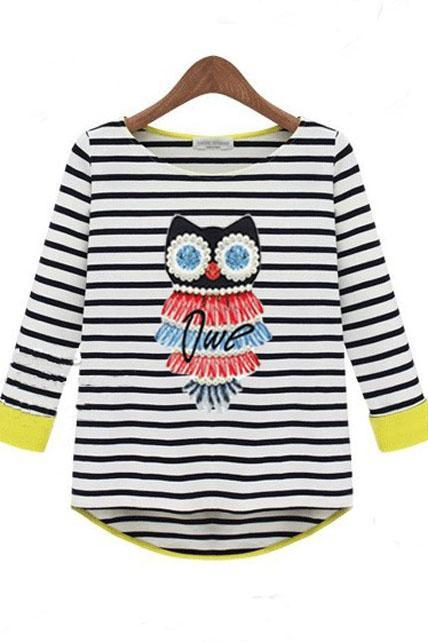 Cute Owl Print Striped High Low Hem T Shirt - Black