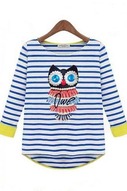 Cute Owl Print Striped High Low Hem T Shirt - Blue