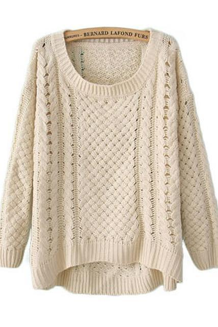 Comfy Round Neck Long Sleeve High Low Hem Sweater - Beige